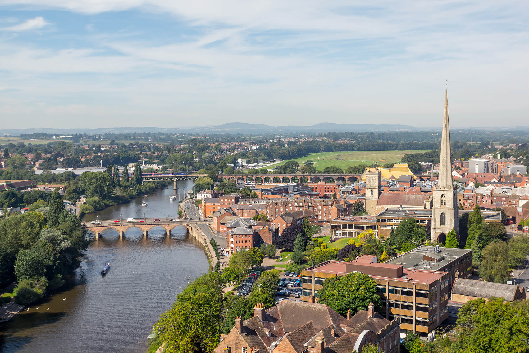 Worcester and River Severn viewed from Cathedral